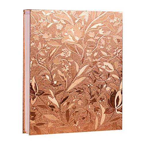 Loghot Large Photo Album 700 Photos DIY Scrapbook Photo Albums with Sticky Page 3x5/4x6/5x7 Picture Photos for Wedding Memory (Champagne Gold Small Leaves)