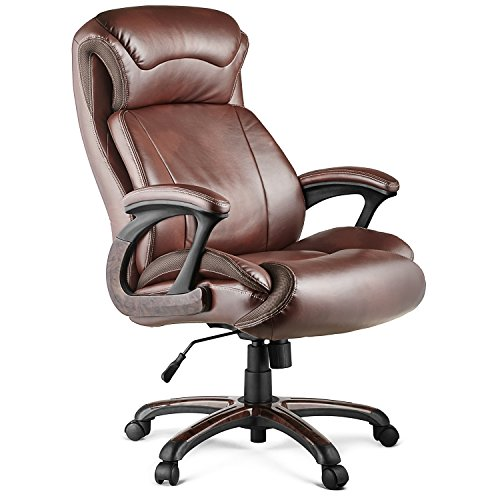 Halter HAL-009 Executive Bonded Leather Office Chair, Home & Office Computer Desk Chair, Supportive Memory Foam Cushion - Supports 500LBS