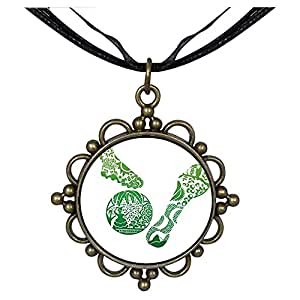 Chicforest Bronze Retro Style Brasil 2014 World Cup Play Football Round Flower Pendant