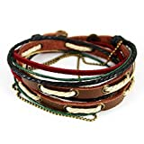 Fariishta Jewelry Colorful Cotton Rope Hand Braided Leather Wrap Bracelet
