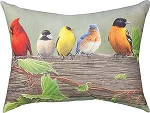 Almohada decorativa para patio, 61 cm, diseño de pájaros en línea I