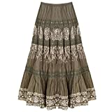 CATALOG CLASSICS Women's Tiered Peasant Skirt - Olive Green Broomstick Maxi - Small