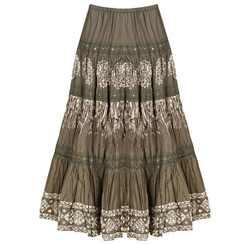 CATALOG CLASSICS Women's Tiered Peasant Skirt - Olive Green Broomstick Maxi - Small by CATALOG CLASSICS (Image #4)