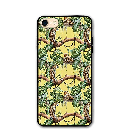 Haixia IPhone 7/8 Phone Case 4.7 Inch Watercolor Leopards In The Jungle Tropical Scene Tree Branches And Leaves Decorative Yellow Green Pale Yellow ()