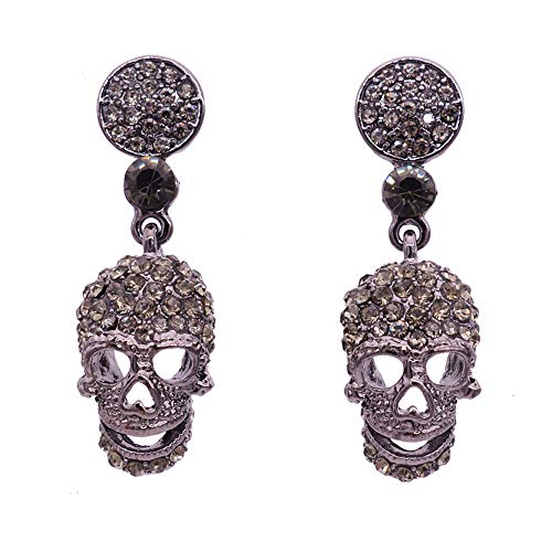Deniferymakeup Women's Crystal Gothic Skull Skeleton Head Pierced Dangle Earrings Clear for Party Halloween Holiday Gift Silver Women Jewelry -