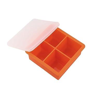 hlhn 4 Cavidad Cubito de hielo con tapa grande barra de congelación de bebida de silicona rectangular molde pudding Jelly Chocolate Eléctrica antiadherente ...