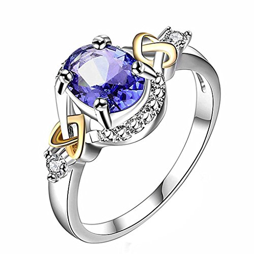 Botrong Women Wedding Engagement Ring Crystal Jewelry Rings (Ring Size 6, Dark Blue)