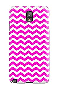 Premium Bright Pink And White Chevron Back Cover Snap On Case For Galaxy Note 3