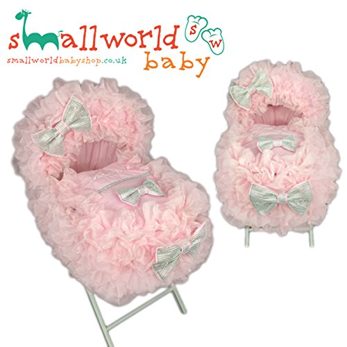 Personalised Pink Bling Extra Frilly Moses Basket Cover