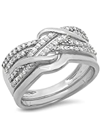 0.35 Carat (ctw) 10K Gold Round Diamond Ladies Crossover Bridal Ring With Wedding Band Set 1/3 CT
