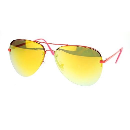 4b1be9644 Amazon.com: Orange Rimless Aviator Sunglasses Orange Mirror Lens Spring  Hinge: Clothing
