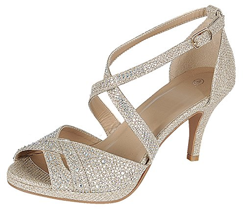 Cambridge Select Women's Peep Toe Crisscross Ankle Strappy Glitter Crystal Rhinestone Mid Heel Sandal (6.5 B(M) US, Champagne)