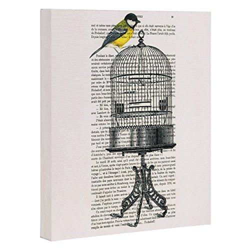 Birdcage Canvas - Deny Designs Coco De Paris, Bird On Birdcage, Art Canvas, Large, 24