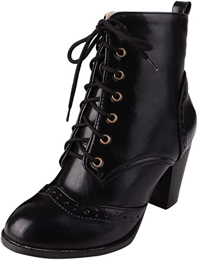 PU Leather Boots High Heel Lace