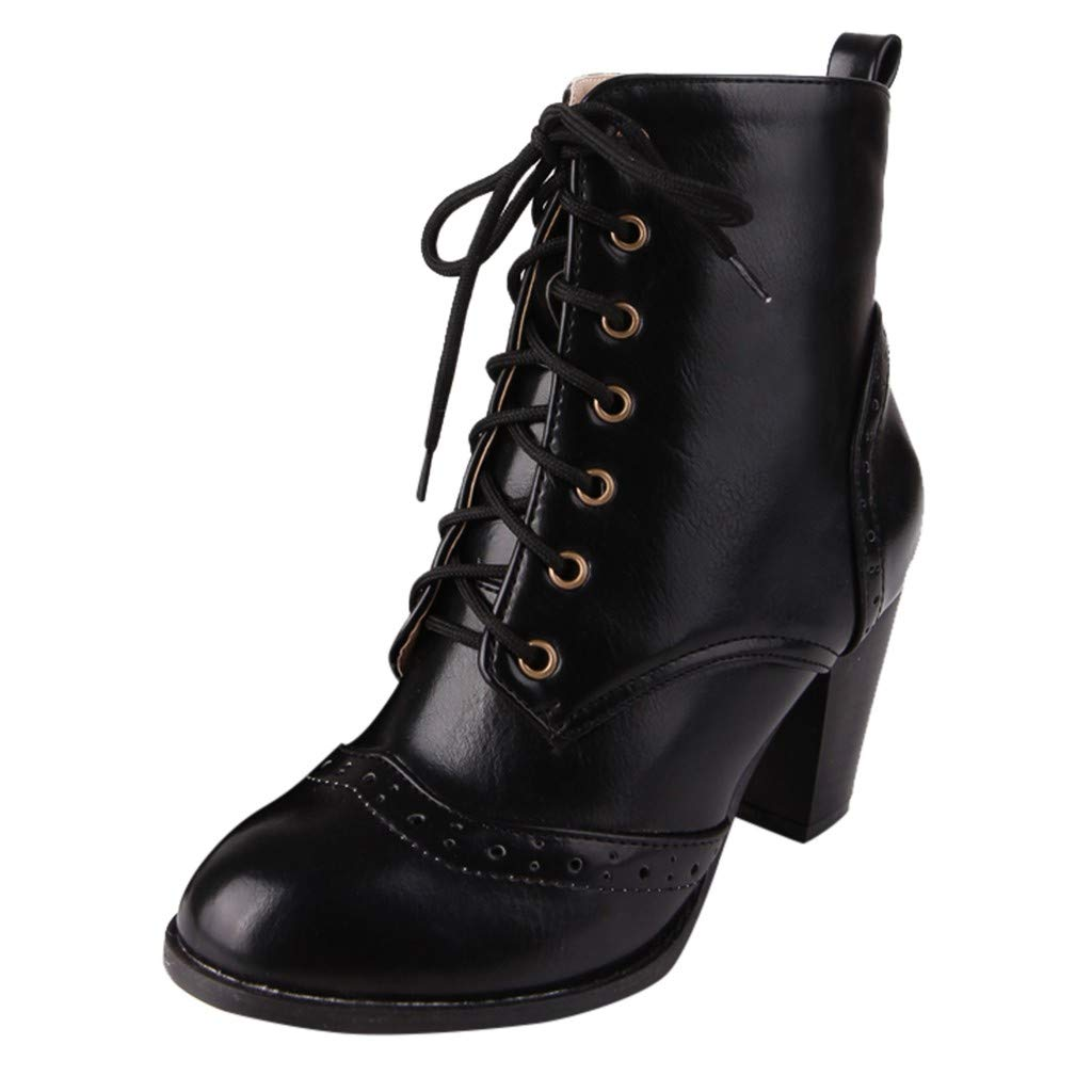 HebeTop Women's Shoes Leather Lace Up Stacked High Heel Ankle Boots Black by HebeTop➟Shoes Accessory