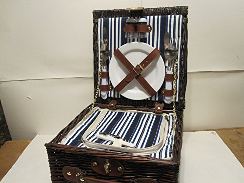 Woven Willow Insulated Square Shaped 2 Person Picnic Basket Cooler Set Set