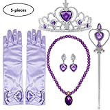 Buufan Girl Princess Dress up Accessories Costume for Princess Sofia Cosplay Queen Jewelry-Crown Wand Gloves Necklace Earrings Halloween Party Kids Birthday Party,5 Pieces Set