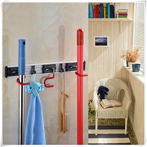 Cavoli Wall Mounted Broom Hanger and Dust Mop Closet Equipment Storage Organizer 16 Inches (3 Positions & 2 Hooks)