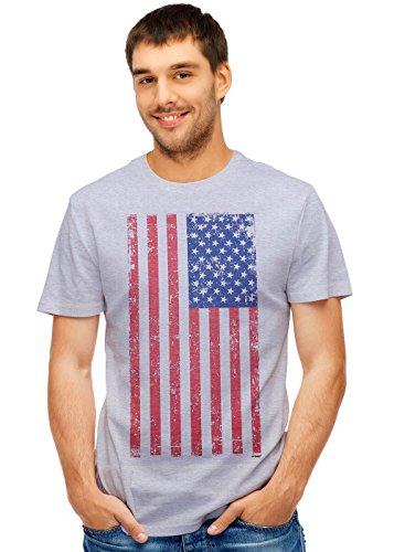 - Retreez Vintage Grunge Old Glory USA American Flag Graphic Printed Unisex Men/Boys/Women T-Shirt Tee - Light Grey - X-Small