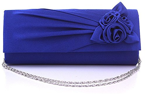 Wedding Evening Cross Satin Clutch Pleated Handbag Bag Purse Body Sapphire Nodykka Party Floral SHnxHqR