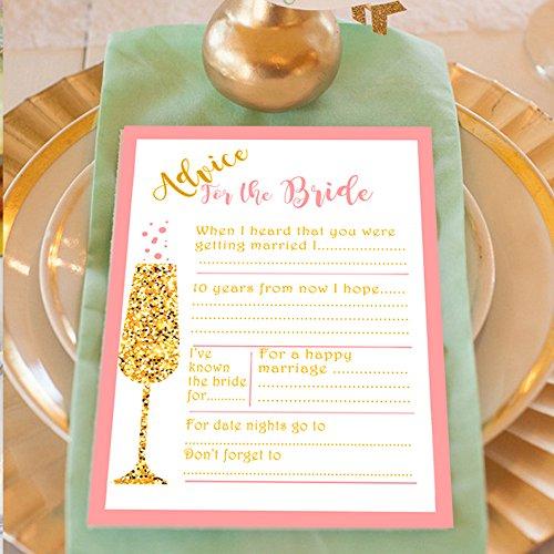 20 x Advice For The Bride Cards with BONUS Keepsake Pouch Great Wedding Advice Cards or Advice for the Bride Cards Rose Pink Hen Party Cards A6 Size