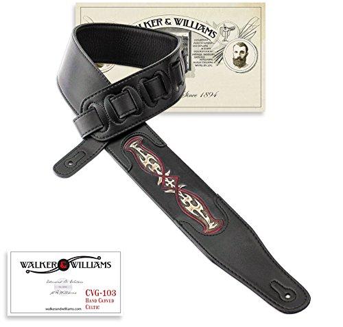 Walker & Williams CVG-103 Black PaddedGuitar Strap Hand Tooled Celtic Design -