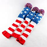 Craftsman Golf Club Knit 3pcs Headcover Set Vintange Pom Pom Sock Covers 1-3-5 with Extra Tag (X , 7)