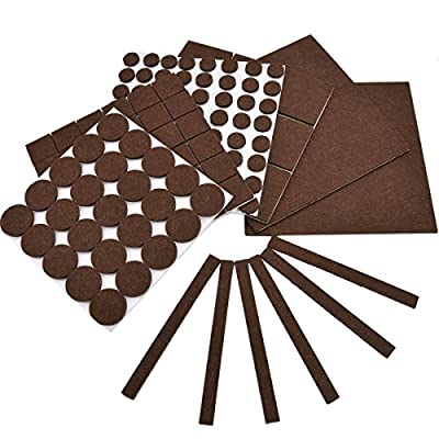 Bloss Furniture Felt Pads Value Pack 142 Piece Heavy Duty Ultra Strong Self-Stick Adhesive Floor Protectors to Protect Hardwood Flooring From Scratches and Scuffs (Brown)