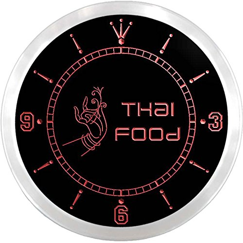 nc0607-b Thai Food Thailand Restaurant Cafe Neon Sign LED Wall Clock by AdvPro Clock