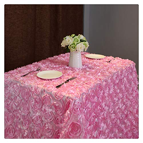 QueenDream 50x80 Inches Pink Rectangle Rosette Tablecloth for Wedding Reception Party and Home Decoration