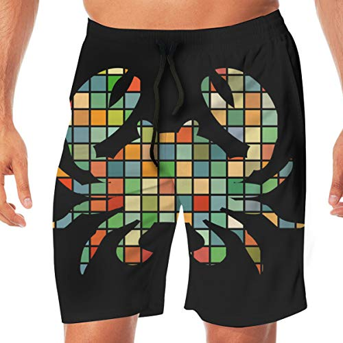 - Crab Mosaic Color Silhouette Aquatic Animal Mens Basic Swim Trunk Summer Trunk
