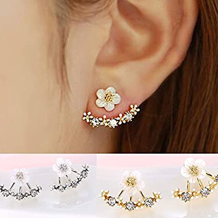 Orecchino Ear Cuff in Argento 925‰ con catenella fiore con decorazioni
