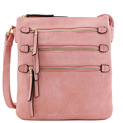 Compartment Front Pink Triple Bag Pocket Double Zippers Crossbody Large 5q4xwStO8