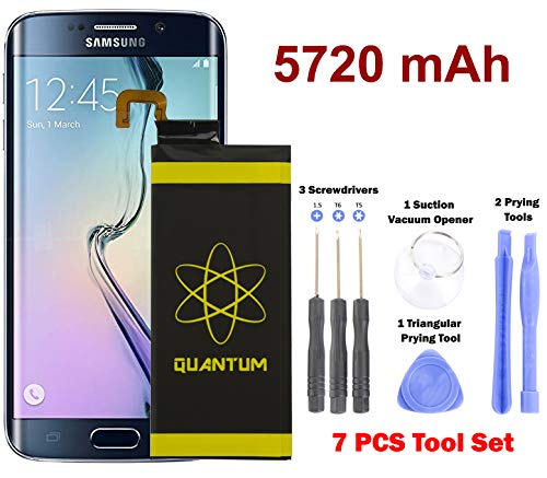 [Upgraded] Quantum Galaxy S6 Edge Battery Replacement Kit, 5720mAh Extended Li-Polymer Replacement Battery for Samsung Galaxy S6 Edge SM-G925 G925V G925T with 7 pc Tool Kit (2 Year Warranty)