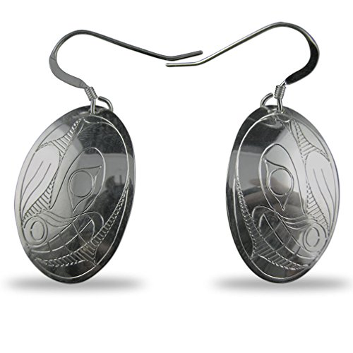 (Sterling Silver Bear Oval Earrings Native Northwest Coast)