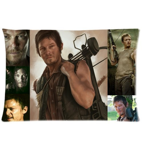 The Walking Dead Daryl Dixon Cotton Zippered Protector Standard Bedding Throw Pillow Cases 20 by 30 inch (Two Sides Print)