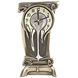 Art Nouveau 11 1/4 High Melting Bronze Table Clock