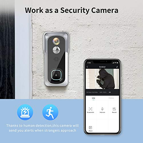 Wireless Video Doorbell Camera, Geekee 1080P Security WiFi Doorbell Camera with Indoor Chime, Motion Detect Sensor, IR Night Vision, IP66 Waterproof, 2-Way Audio, 32GB Included (Sliver)