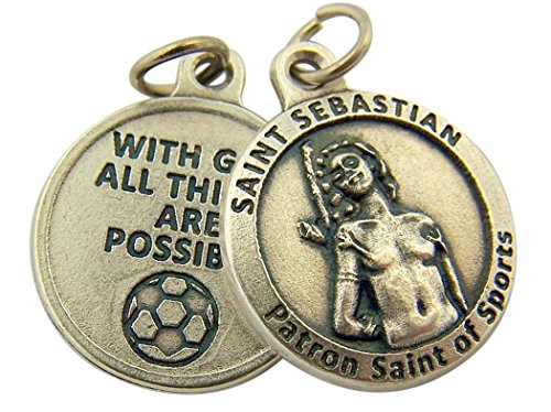 L&M Silver Toned Base with God All Things are Possible Saint Sebastian Sports Medal, 3/4 Inch (Soccer)