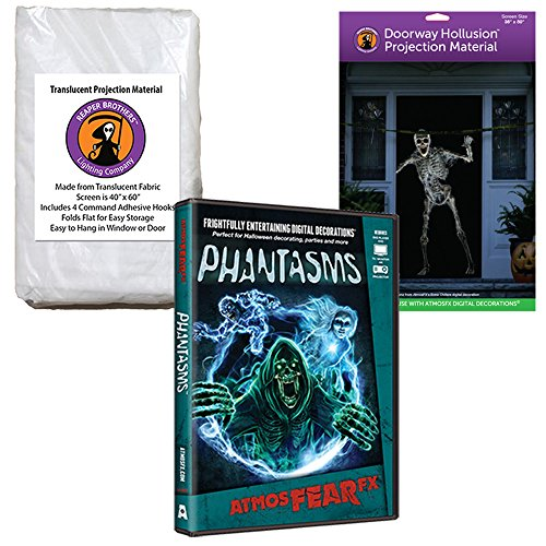 AtmosFEARfx Phantasms Halloween Digital Decoration DVD with Hollusion Doorway+ Reaper Bros Window Projection Screens