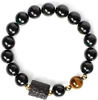 L&C Feng Shui Black Obsidian Wealth Bracelet - Women Mens Bracelets 8MM 10MM Obsidian Crystal Relief Reiki Healing Stone Tiger Eye Stretch Protection Beaded Bracelet Unisex Bring Luck Prosperity
