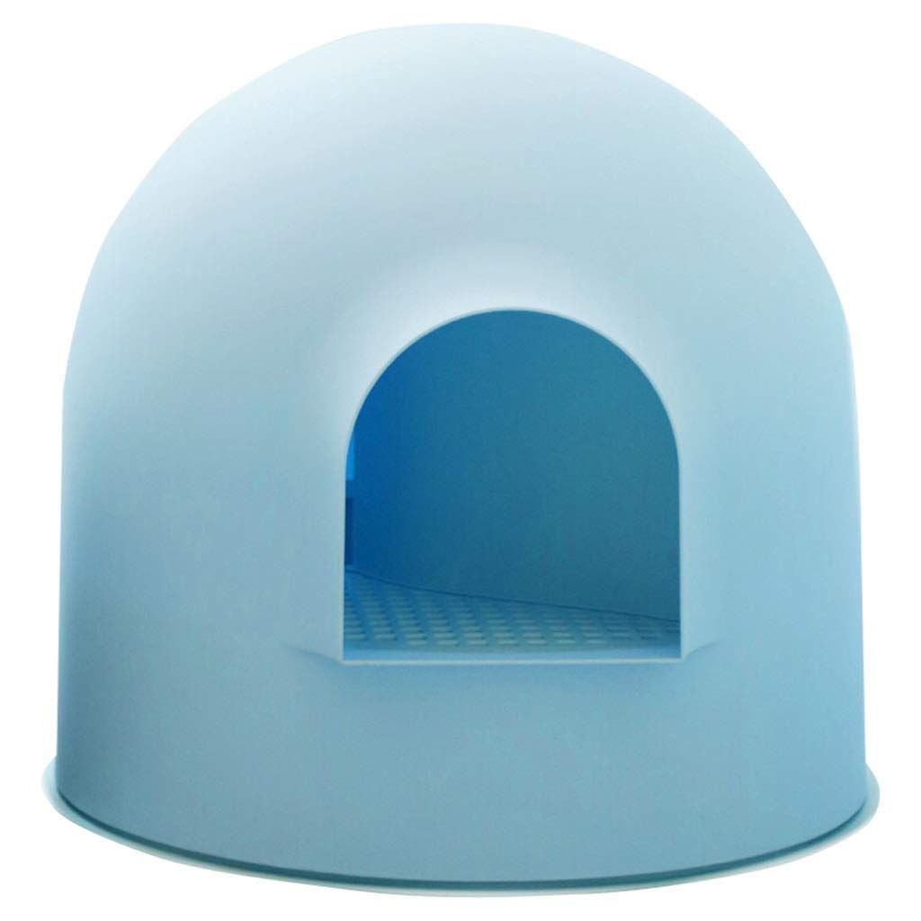 bluee IRVING Pet toilet Safe odorless material Fully enclosed Ball Large space Big cats Small cats Small dogs universal Easy to clean 3 colors Pet Supplies (color   bluee)
