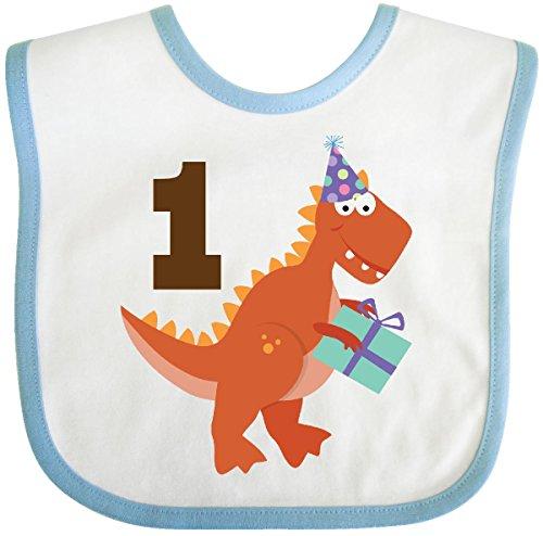 (Inktastic - 1st Birthday Dinosaur Party Baby Bib White/Blue)