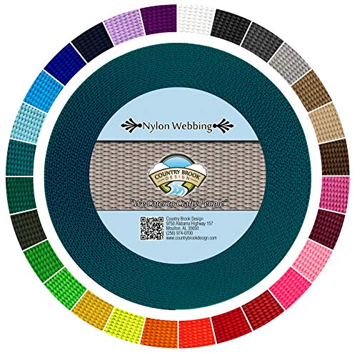 Country Brook Design | Durable 1 Inch Heavy Nylon Webbing | 29 Vibrant Colors (Teal, 50 Yards)