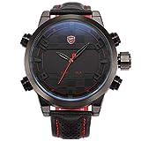 Shark Sport Watch, Sawback Angelshark Men's Fashion Digital LED Date Day Alarm Black Leather Quartz Wrist Watch SH203 Red
