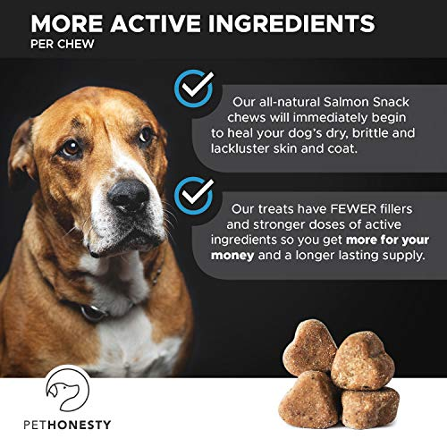 Salmon Oil for Dogs - Omega 3 Fish Oil For Dogs All-Natural Wild Alaskan Salmon Chews Omega 3 for Dogs for Healthy Skin & Coat, Cure Itchy Skin, Dog Allergies, Reduce Shedding - 90 Ct. Fish Oil by PetHonesty (Image #4)