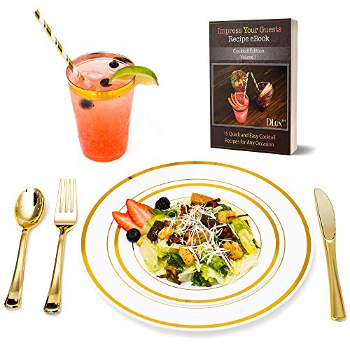 Gold Plastic Dinner Plates Disposable Dinnerware Set with 12 oz Rimmed Cups & Eco-Friendly Paper Straws | 175 Pieces [25 Forks, Knives, Spoons, Cups, Straws, Salad & Dinner Plate] ()