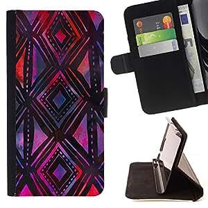 For Samsung Galaxy S4 IV I9500 Case , Modelo púrpura Negro mano del arte- la tarjeta de Crédito Slots PU Funda de cuero Monedero caso cubierta de piel