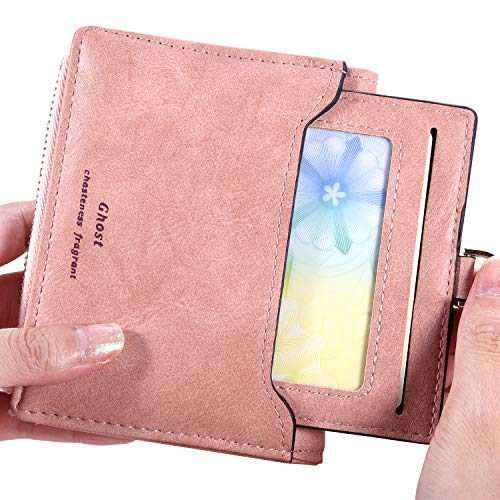 (RFID Blocking Biford Compact Wallet for Women - Cute Small Coin Purse Leather ID Card Holder,Pink)