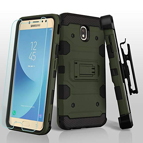 Kaleidio Case Compatible Samsung Galaxy J7 Crown, J7 Aero, J7 Aura, J7 Top, J7 Eon [Tank Armor] Rugged Shockproof Holster Cover [Kickstand] w/Glass Film & Prying Tool [Forest] ()